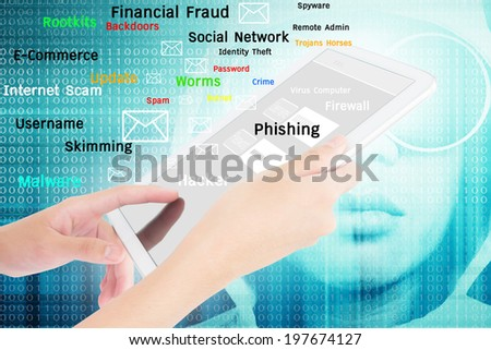 Businessperson Using A Digital Tablet,Technology,Social Network,Internet Fraud,Crime Concept,Add More Text And Ideas - stock photo