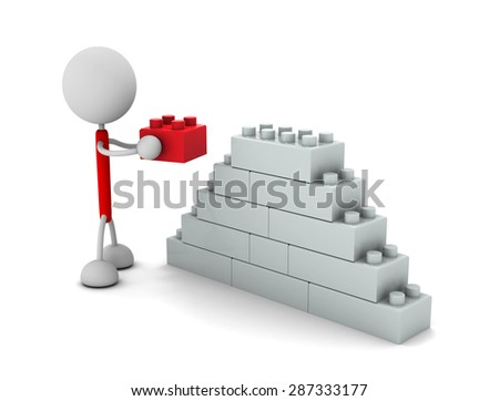 Businessperson with block - stock photo