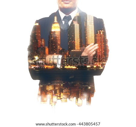 Businessperson with corssed arms and night city isolated on white background. Double exposure - stock photo