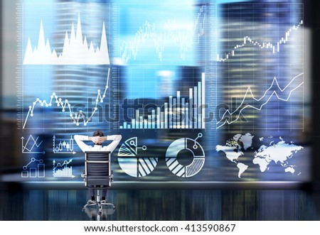 Businessperson with hands on head sitting in front of business chart and cityscape. Double exposure - stock photo