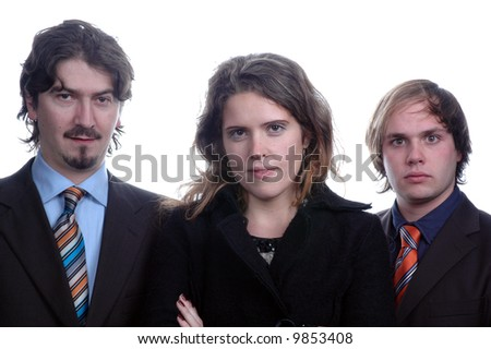 businessteam isolated over white background - stock photo
