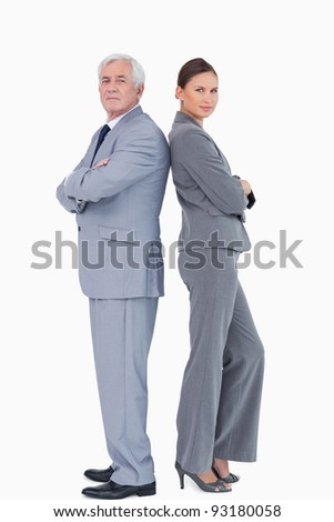 Businessteam standing back to back against a white background - stock photo