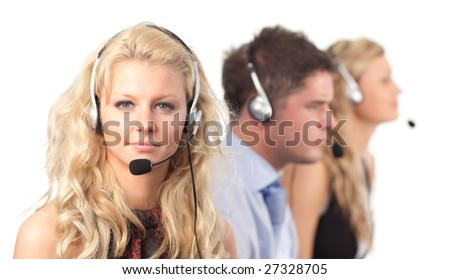 Businessteam with headsets - stock photo