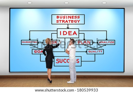 businesswoman and businessman looking at plasma panel with business strategy - stock photo