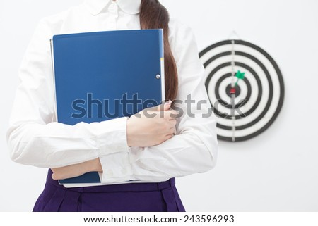 Businesswoman and good result. Focus on woman - stock photo