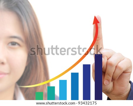 Businesswoman and graph - stock photo
