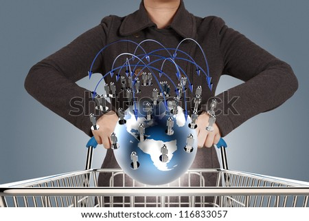 businesswoman and online shopping concept - stock photo