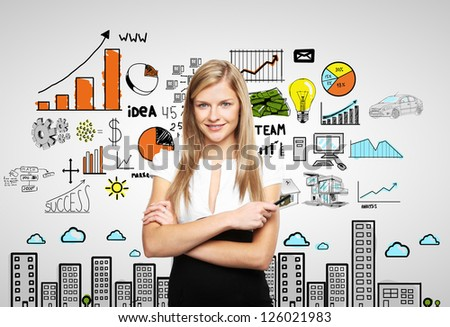 businesswoman and plan business strategy - stock photo