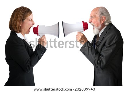 businesswoman and senior male manager with megaphones on white - stock photo