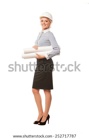 businesswoman architect holding blueprints isolated on white background - stock photo
