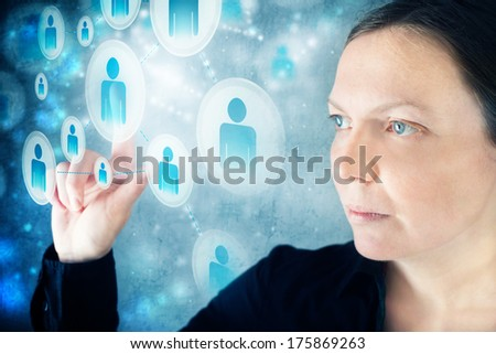 Businesswoman as social network user. Concept of modern communication through social media. - stock photo