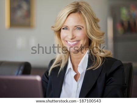 Businesswoman At Home Office Using Laptop - stock photo