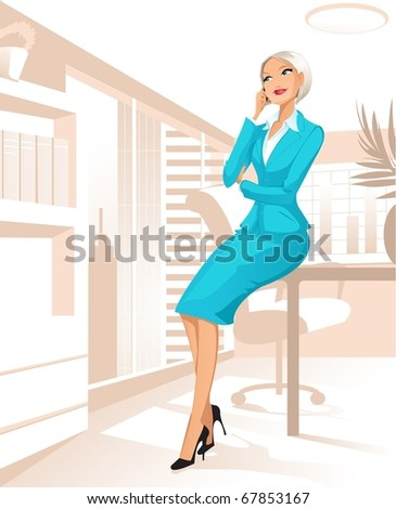 Businesswoman at office talking by telephone - stock photo