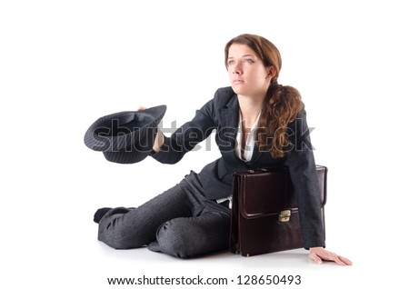 Businesswoman begging some money on white - stock photo