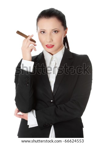 Businesswoman (boss) with cigar (feminism concept) - stock photo