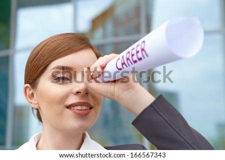 "Businesswoman. ""Career"" concept. - stock photo"