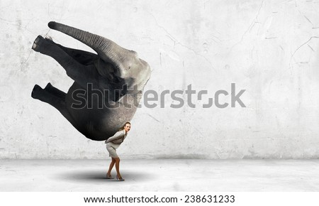 Businesswoman carrying big elephant on her back - stock photo