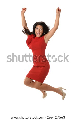 Businesswoman celebrating by jumping isolated over white background - stock photo