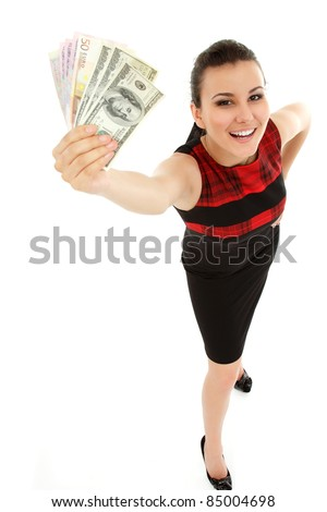 businesswoman cheerful holding cash isolated on white background - stock photo