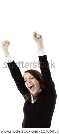 Businesswoman cheering for success. - stock photo