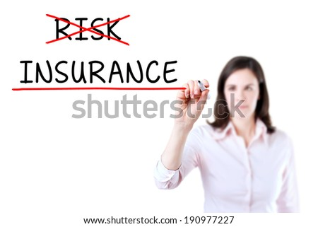 Businesswoman choosing Insurance instead of Risk.  - stock photo