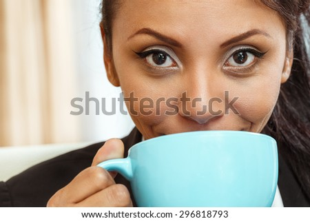 Businesswoman coffee cup hold. - stock photo