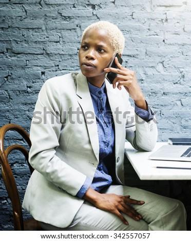 Businesswoman Concentrate Data Determine Device Concept - stock photo