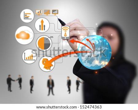 businesswoman design technology network - stock photo