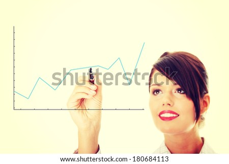 Businesswoman drawing a graph, representing business growth. - stock photo