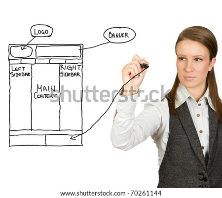 Businesswoman drawing web design sketch (selective focus) - stock photo