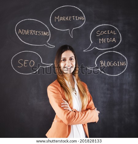 Businesswoman expertise in Marketing and Social Media - stock photo