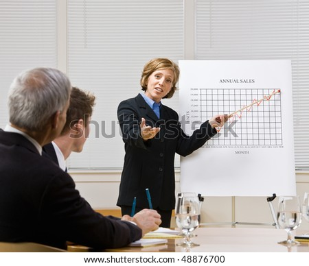 Businesswoman explaining chart - stock photo