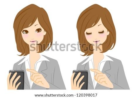 Businesswoman female smartphone - stock photo