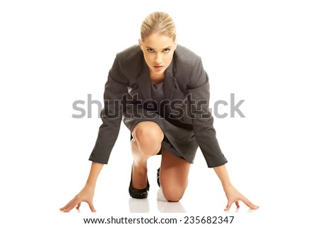 Businesswoman getting ready for competition. - stock photo