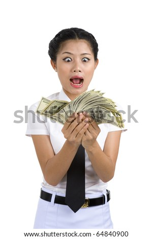 businesswoman going crazy because she got a lot of money in her hands, isolated on white background - stock photo