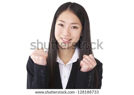 Businesswoman guts to pose - stock photo