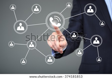 Businesswoman hand press web telephone button sign. business, technology and internet concept  - stock photo
