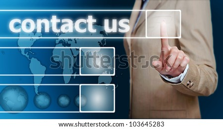 businesswoman hand pressing contact us button on a touch screen interface - stock photo