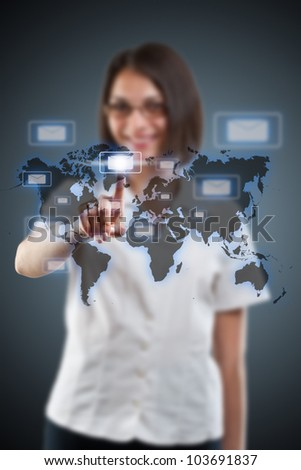 Businesswoman hand pressing e-mail icon - stock photo