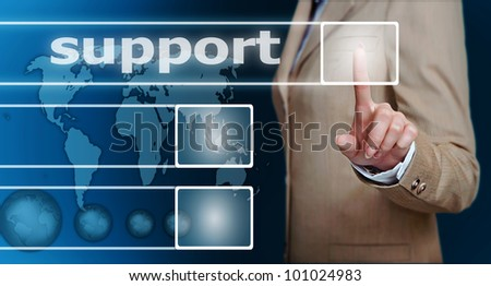 businesswoman hand pressing support button on a touch screen interface - stock photo