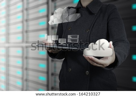 Businesswoman hand working with a Cloud Computing diagram on the new computer interface as concept - stock photo