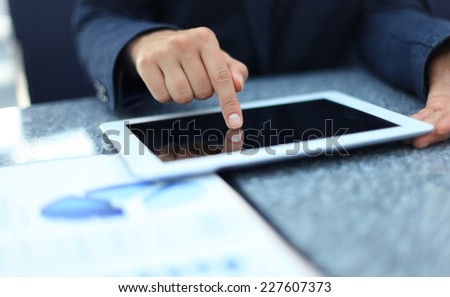Businesswoman hands with touchpad  - stock photo