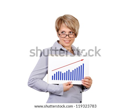 businesswoman holding a sign saying profits - stock photo