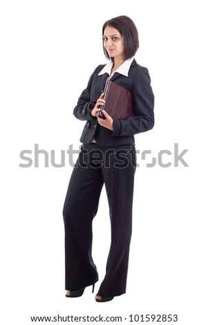 Businesswoman holding book isolated on white background - stock photo