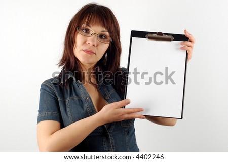 businesswoman holding clipboard #14 - stock photo