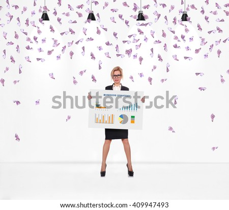 Businesswoman holding poster with drawing business strategy. Falling many euro bills. - stock photo