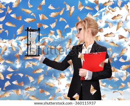 Businesswoman holding sandglass and red clipboard. Flying euro bills - stock photo