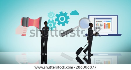 Businesswoman holding tablet against blue vignette background - stock photo
