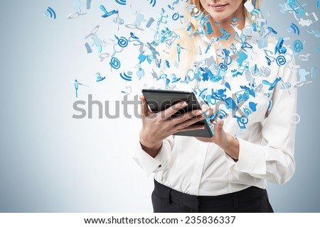 businesswoman holding  touch pad, close up - stock photo