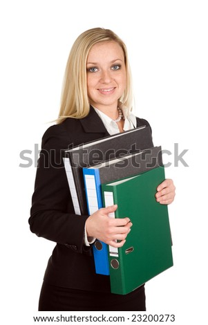 Businesswoman holds folders on a white background - stock photo